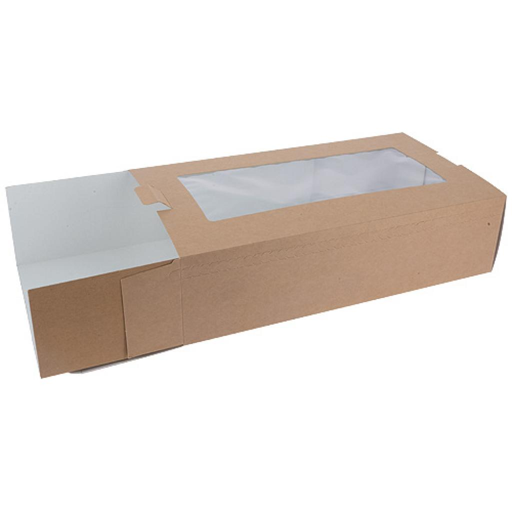 Brown kraft paperboard windowed case with an insert tray, 340x180x90mm