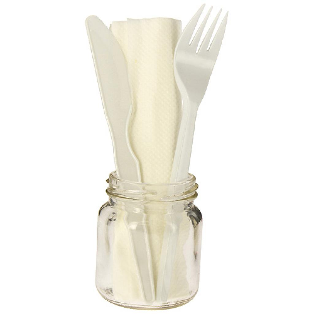 3 in 1 white PS cutlery sleeve
