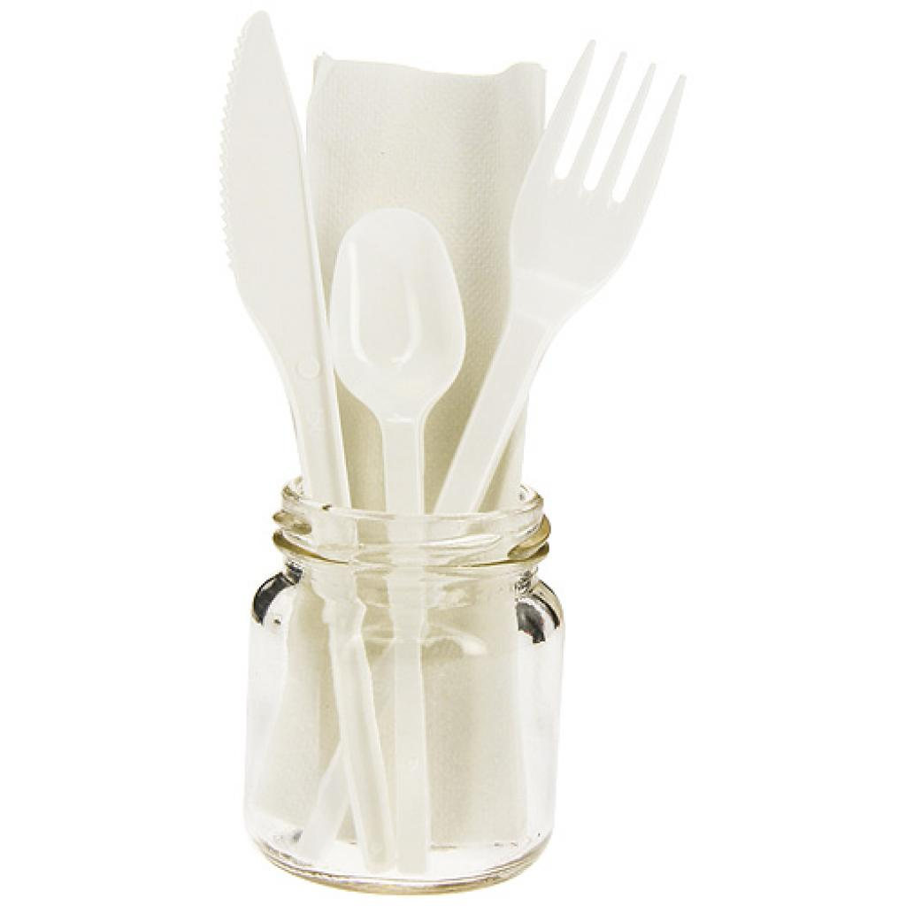 4 in 1 white PS cutlery sleeve, teaspoon included