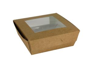 Brown 2-windowed kraft Paperboard Salad Box, 140x140x50MM (40x12)
