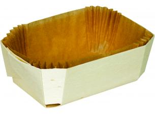 Baking Container in Wood 185X105XH40MM + Paper Liner X200