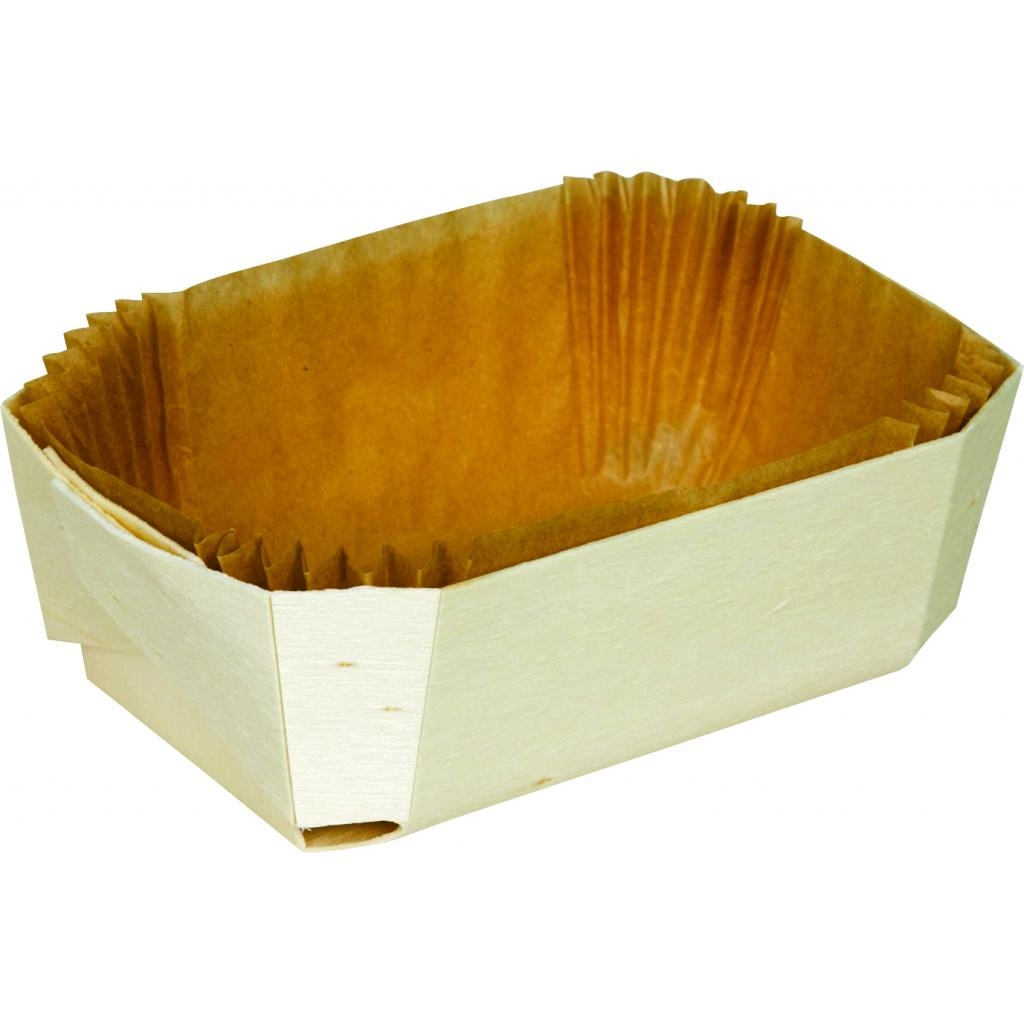 Baking Container in Wood 185X115XH55MM + Paper Liner X120