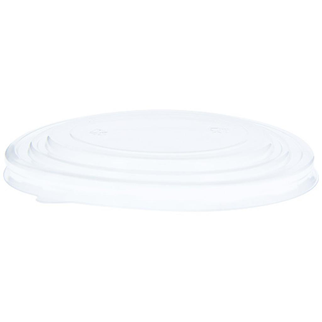 Recyclable PET lid for the 1000 ml round cardboard salad bowl