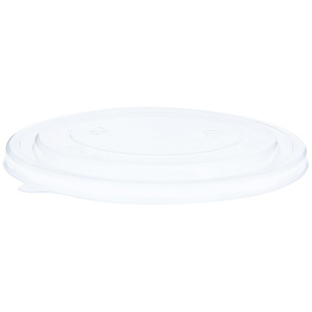Recyclable PET lid for the 1300 ml round cardboard salad bowl