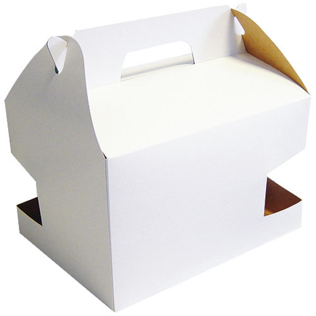 White cardboard transport box with handle