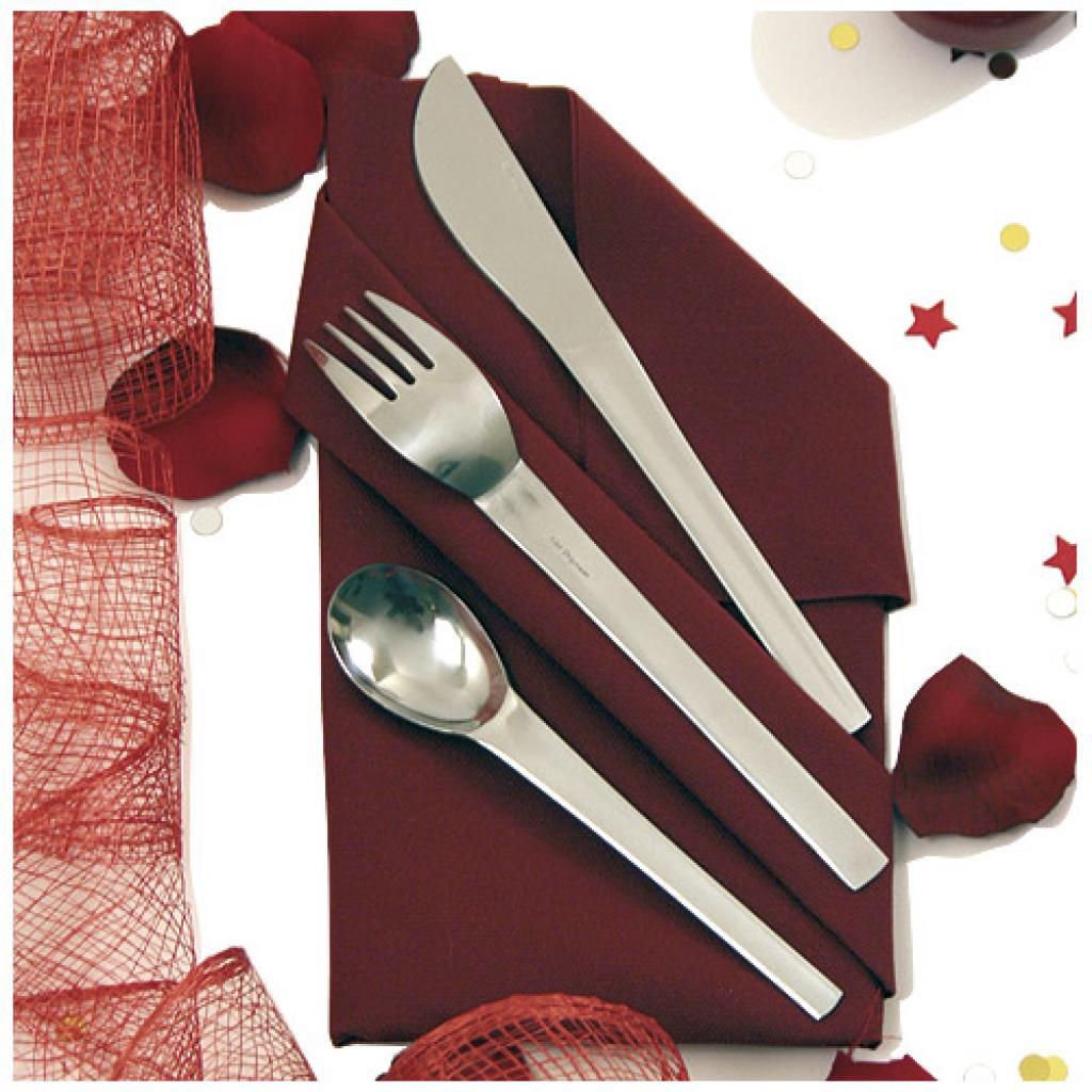 Kit couvert inox avec serviette 120 mm