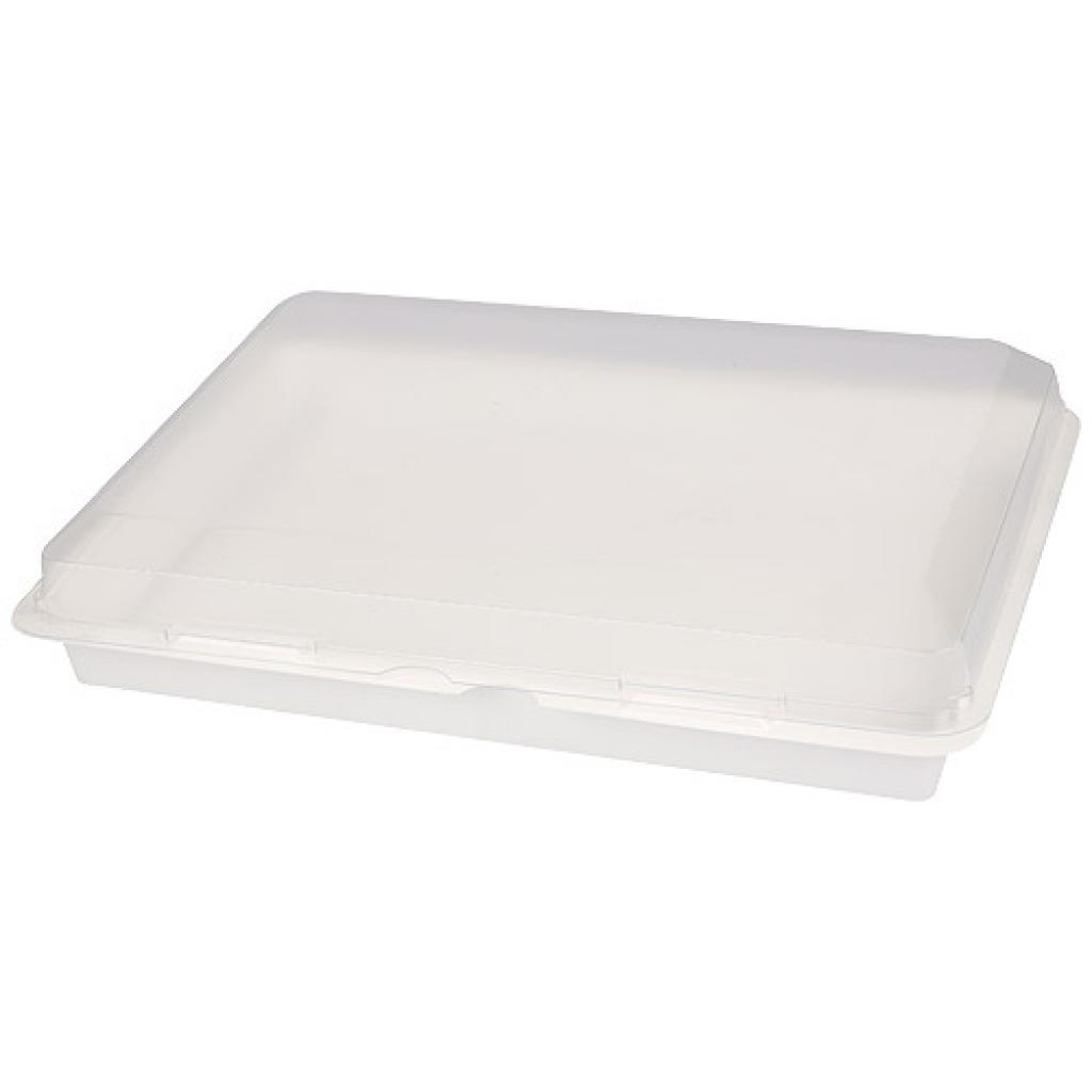 White plastic dinner tray with matching lid