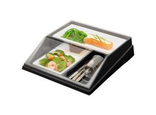 Cube tray with base, ravier, and lid