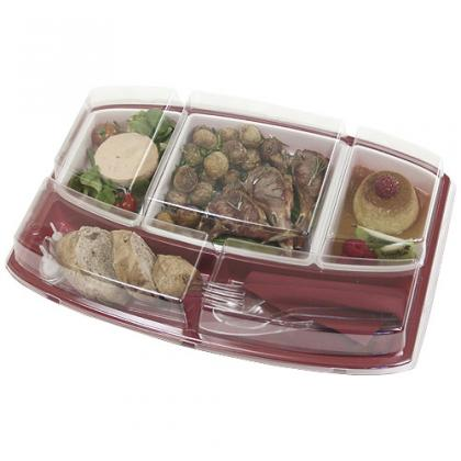 Burgundy base for 5-compartment dinner tray