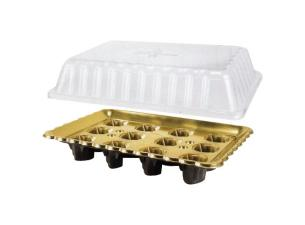 Black/gold plastic display platter for 12 verrines