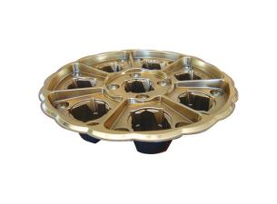 Black/gold plastic display platter for 8 verrines