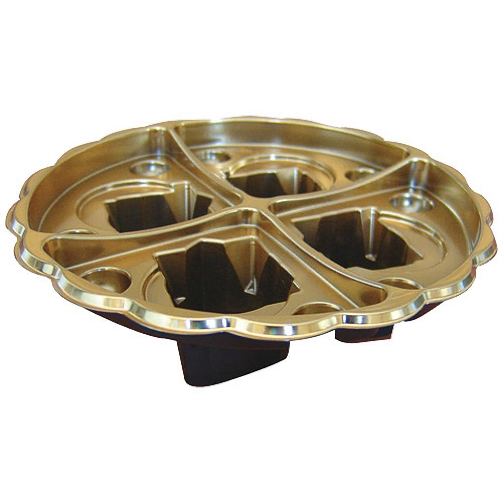 Black/gold plastic display platter for 4 verrines