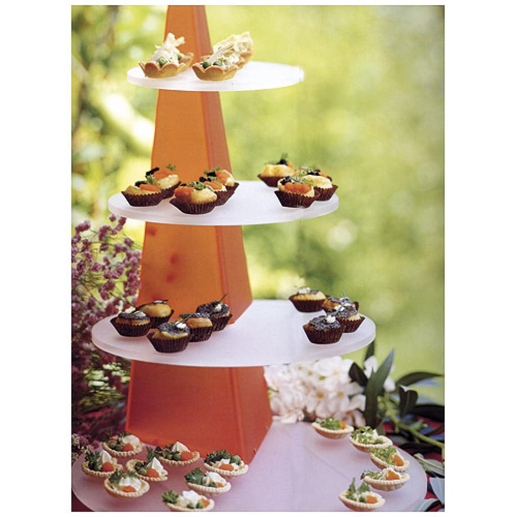 62cm orange/white tiered display platter for Obélisque verrines 2