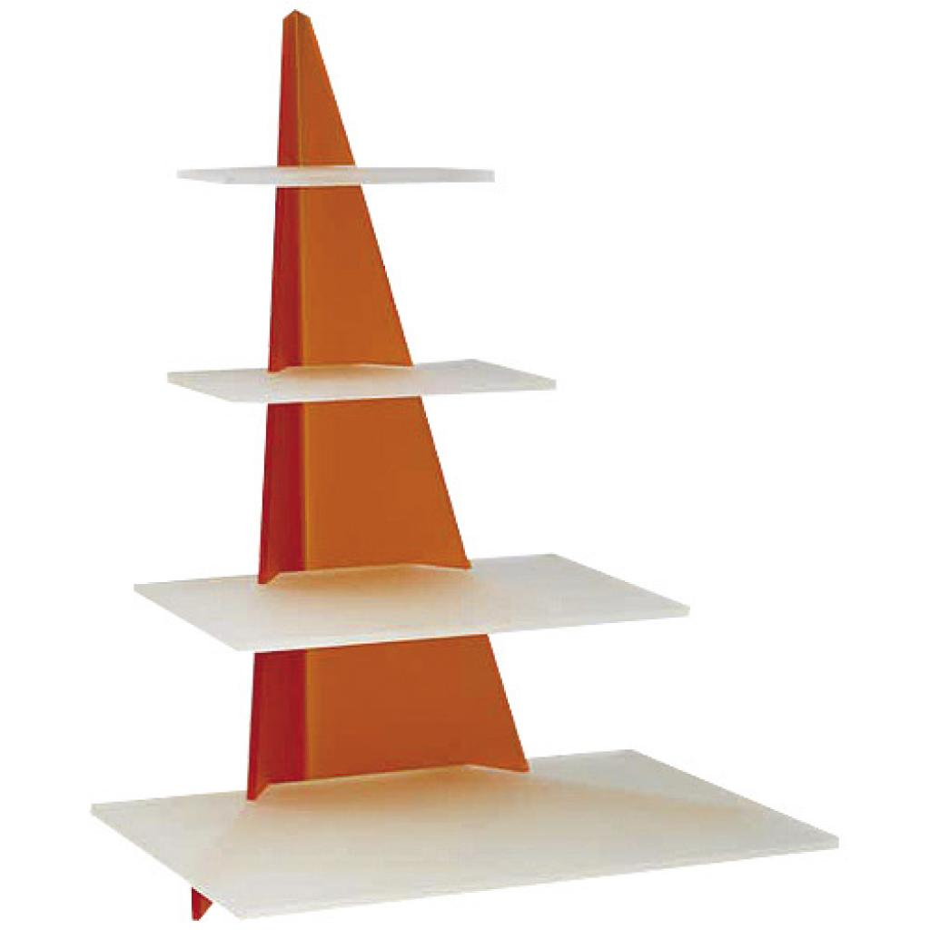 Orange/white tiered display platters for Arrow verrines