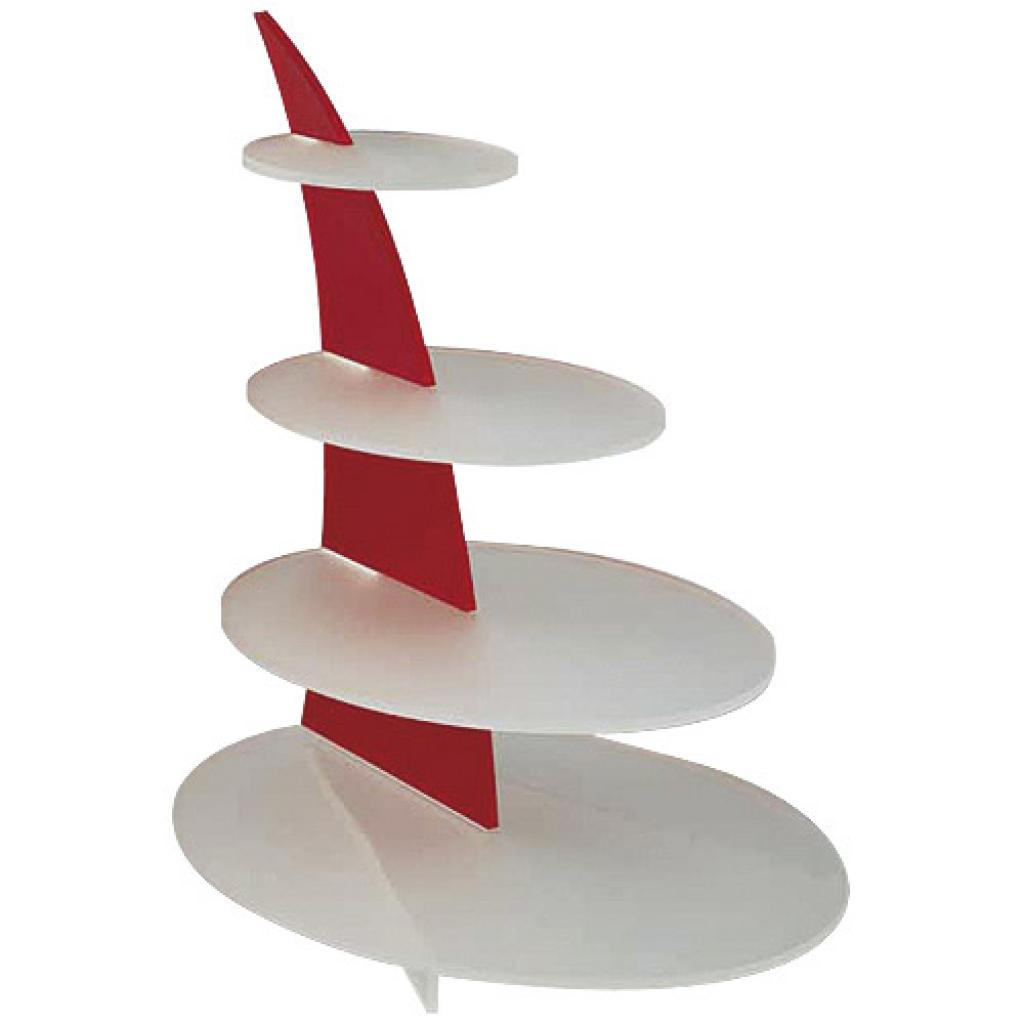 Red/white tiered display platter for Squale verrines