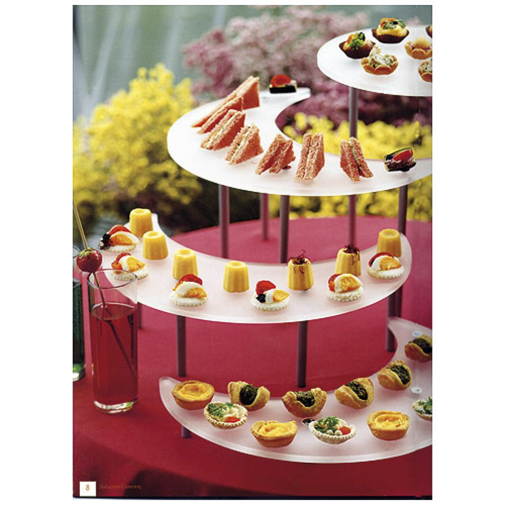 Frosted glass tiered display platter for Ying Yang verrines 2