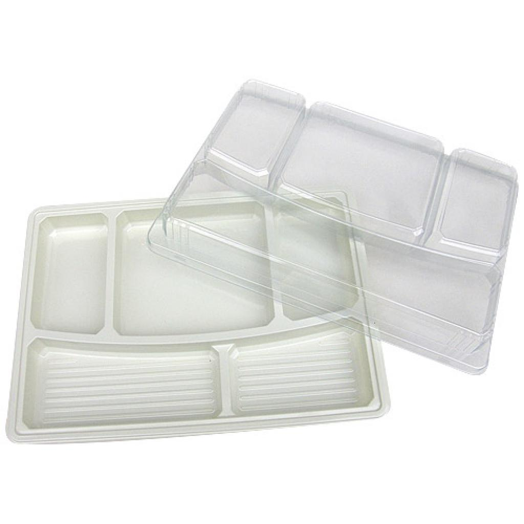 Beige PS 5-compartment dinner tray