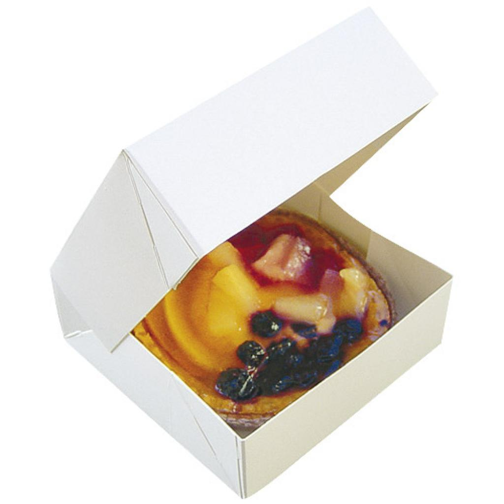 White paperboard pastry box 14x6 cm