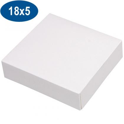 White paperboard pastry box 18x5 cm