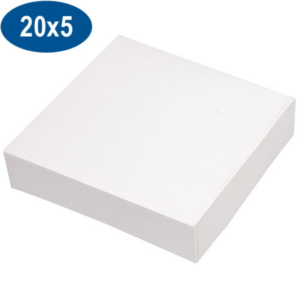 White paperboard pastry box 20x5 cm
