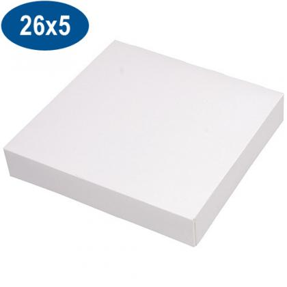White paperboard pastry box 26x5 cm