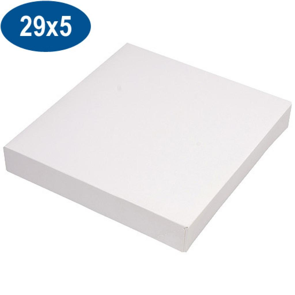 White paperboard pastry box 29x5 cm