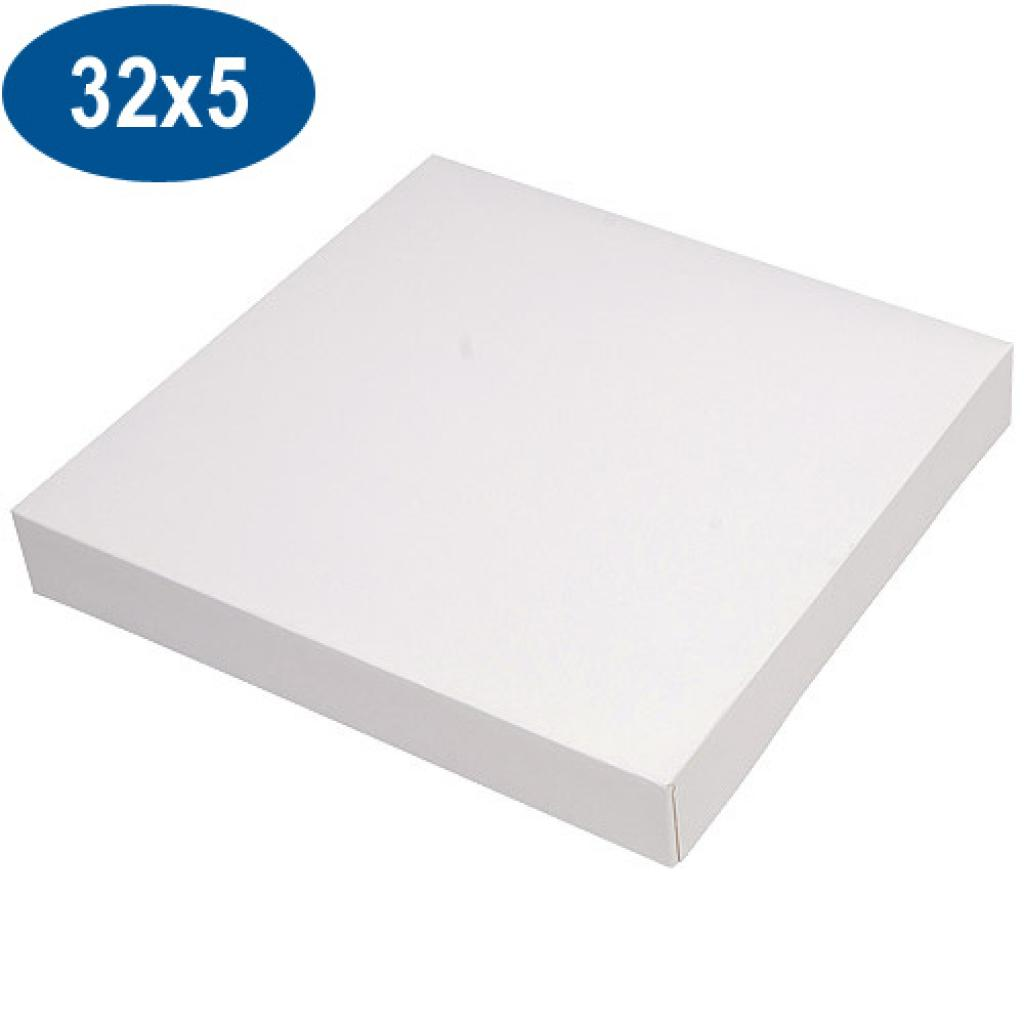 White paperboard pastry box 32x5 cm