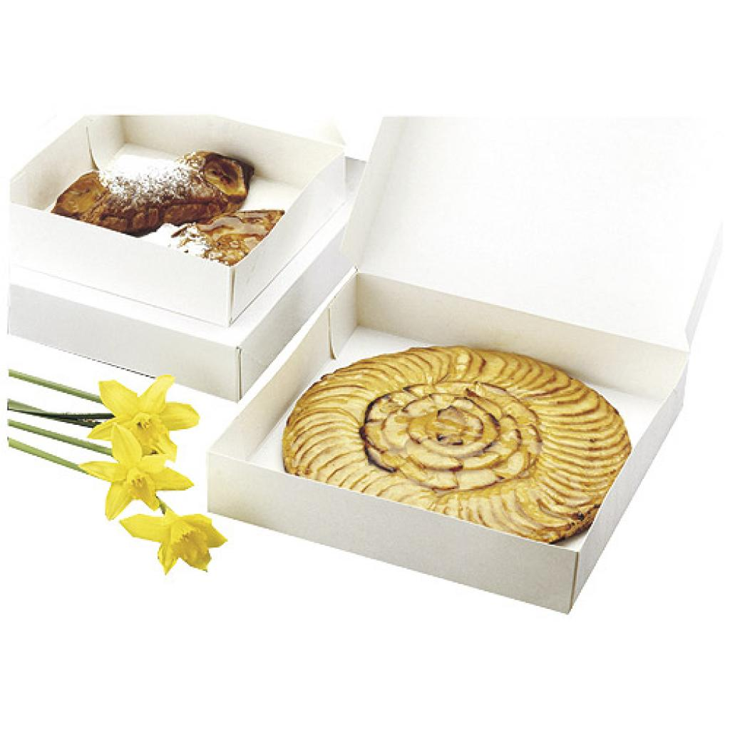 Boite pâtissière en carton blanche 16x8 cm 2