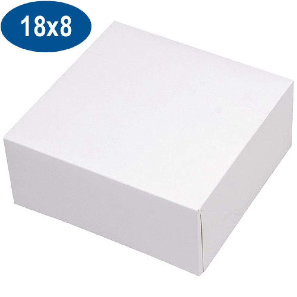 White paperboard pastry box 18x8 cm
