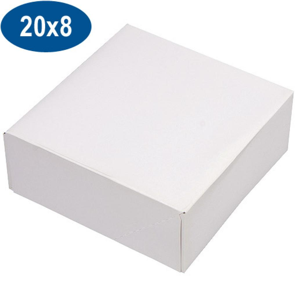 White paperboard pastry box 20x8 cm