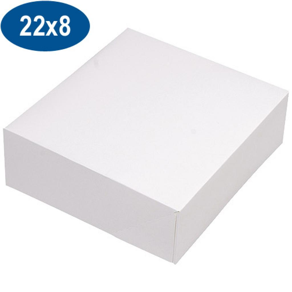 Boite pâtissière en carton blanche 22x8 cm