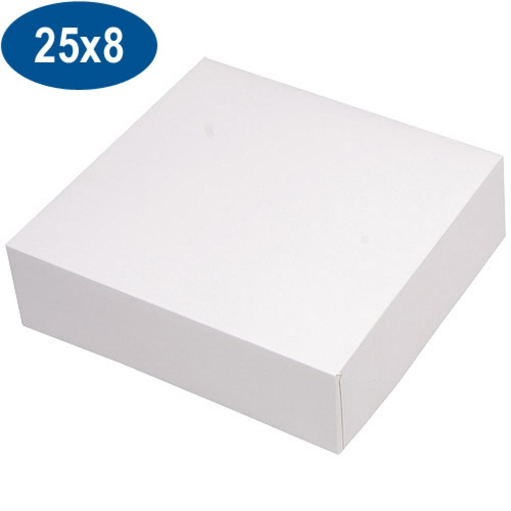 White paperboard pastry box 25x8 cm