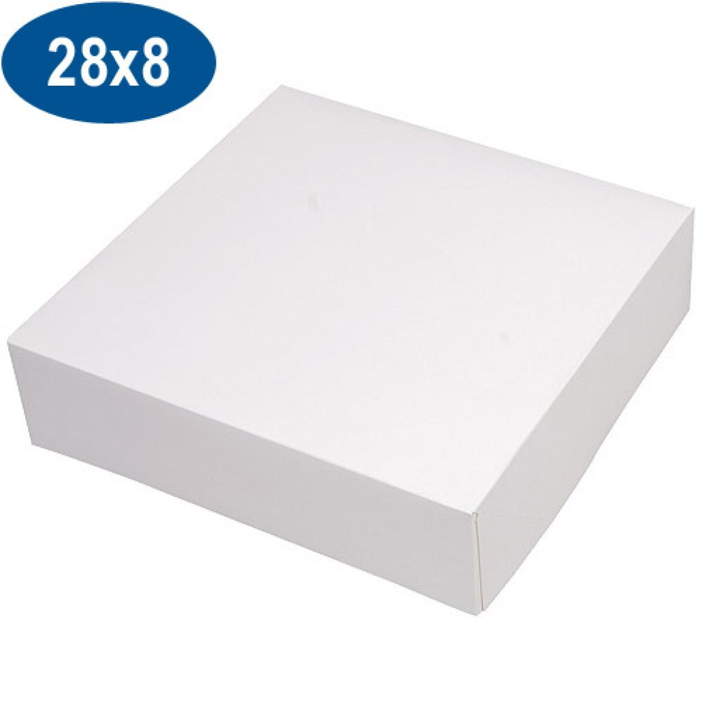 White paperboard pastry box 28x8 cm