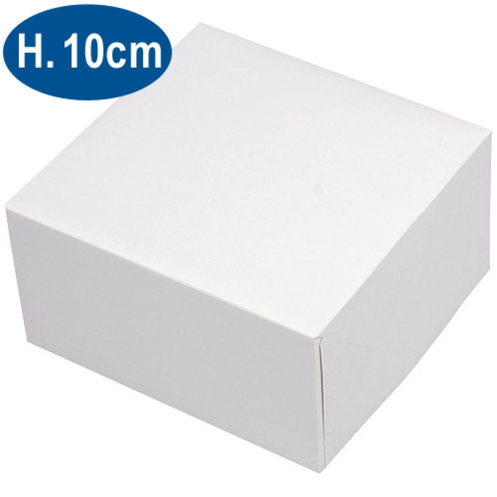 White paperboard pastry box 18x10 cm