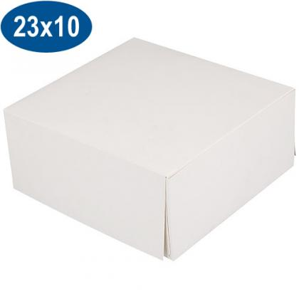 White paperboard pastry box 23x10 cm