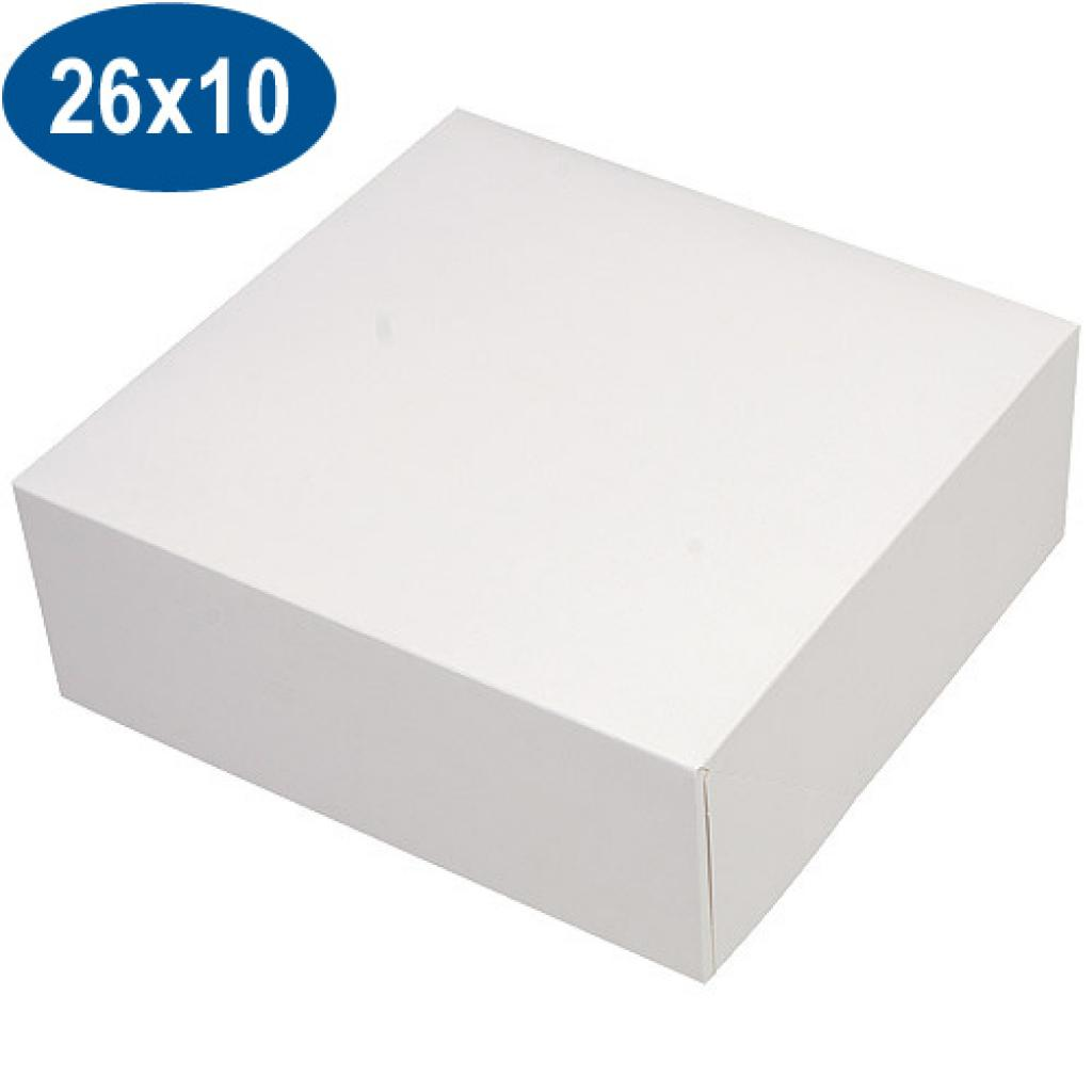 White paperboard pastry box 26x10 cm