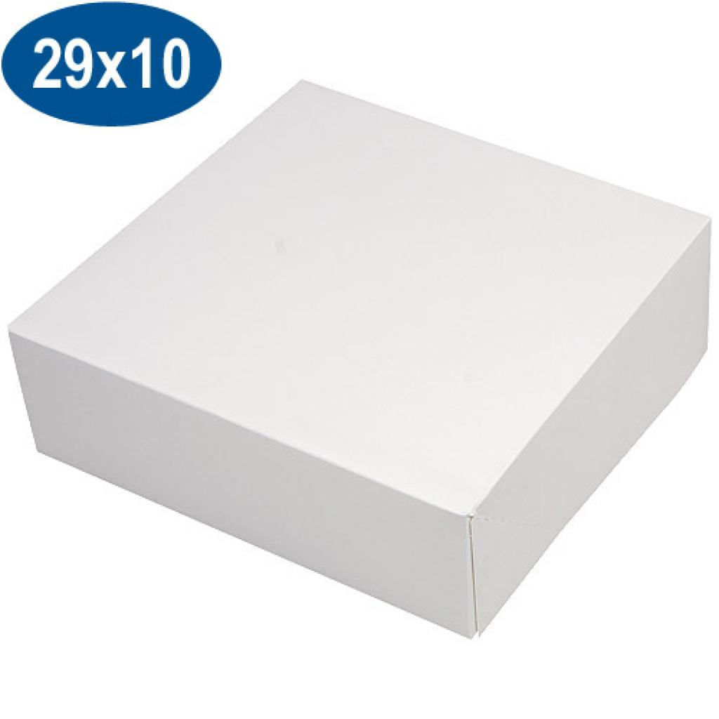 White paperboard pastry box 29x10 cm