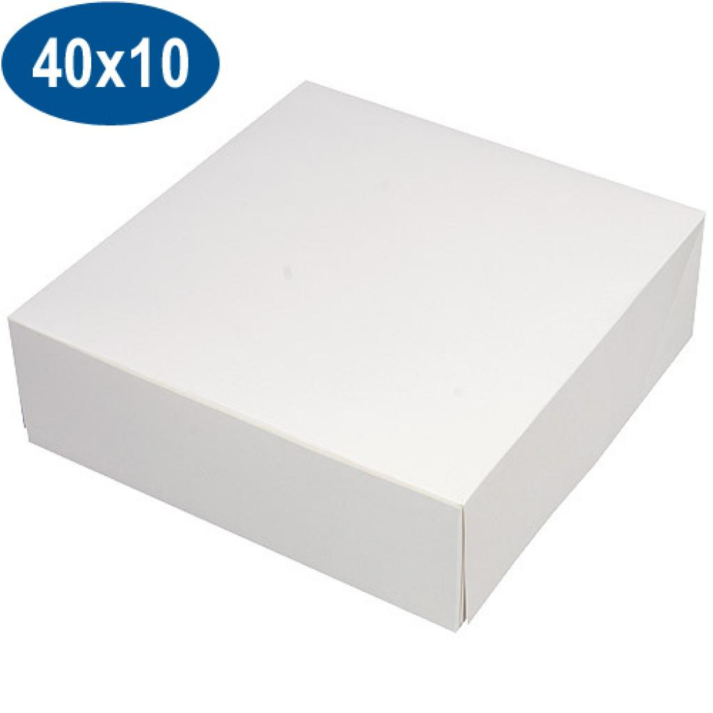 White paperboard pastry box 40x10 cm