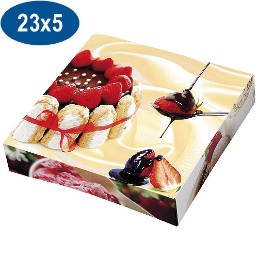 Boite pâtissière charlotte en carton 23x5 cm