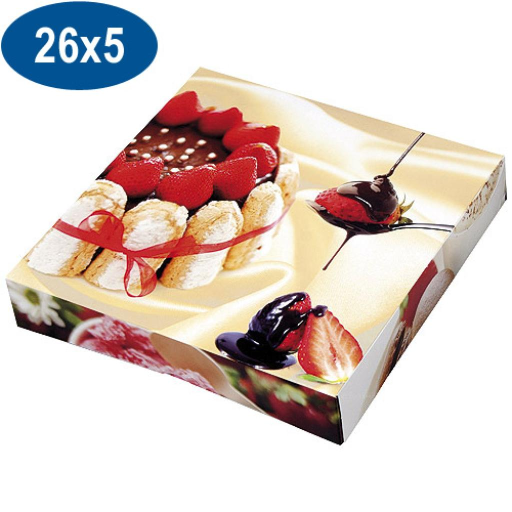 Paperboard charlotte pastry box 26x5 cm