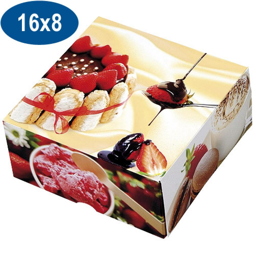Paperboard charlotte pastry box 16x8 cm