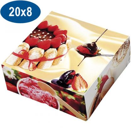 Paperboard charlotte pastry box 20x8 cm
