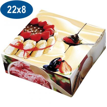 Paperboard charlotte pastry box 22x8 cm