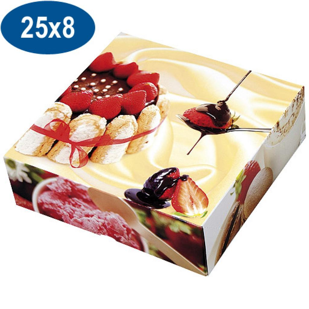 Paperboard charlotte pastry box 25x8 cm