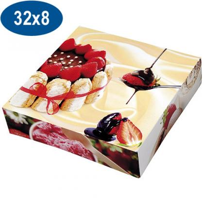 Paperboard charlotte pastry box 32x8 cm