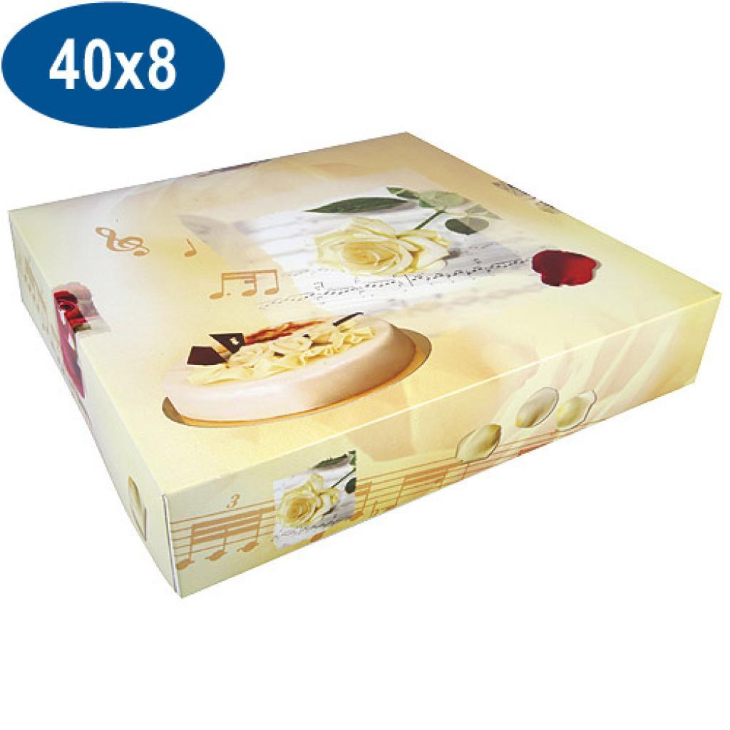 Boite pâtissière opéra en carton 40x8 cm