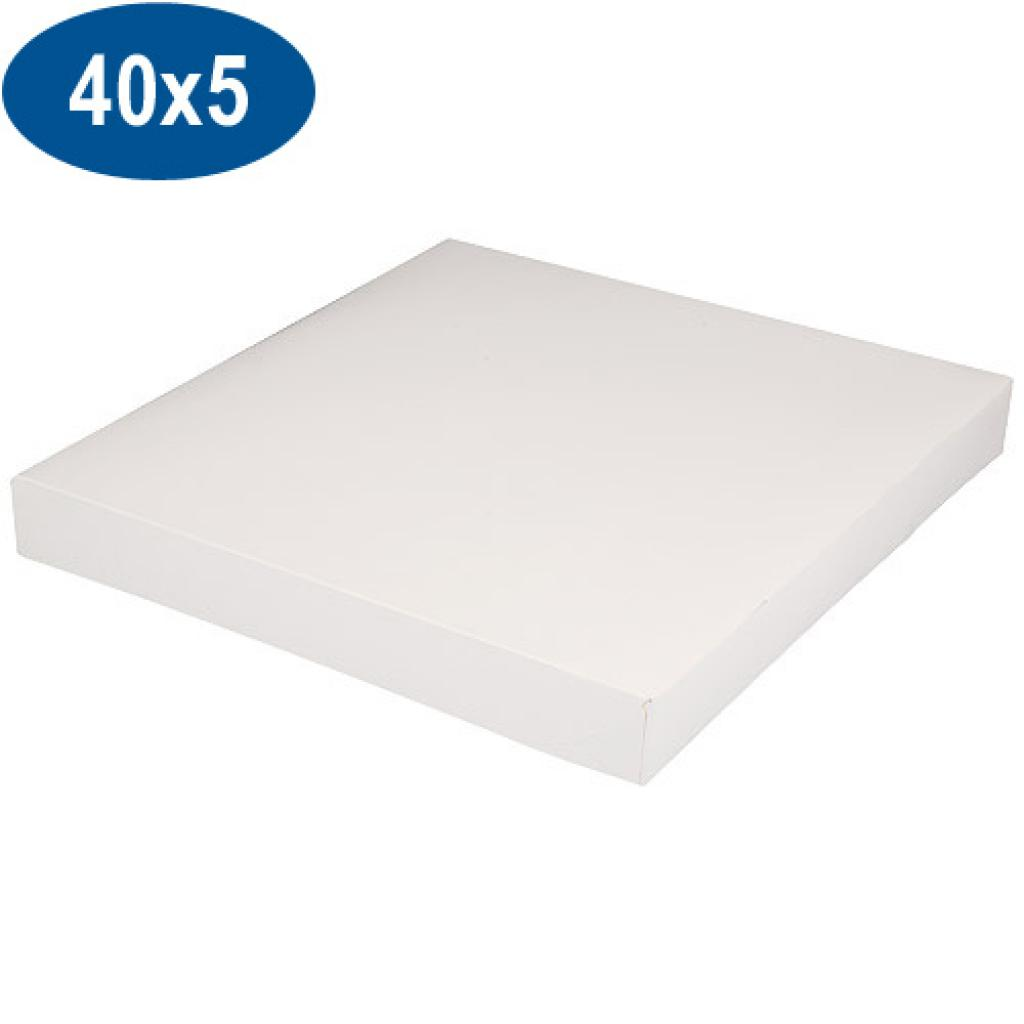 White paperboard pastry box 40x5 cm