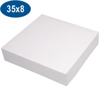 White paperboard pastry box 35x8 cm
