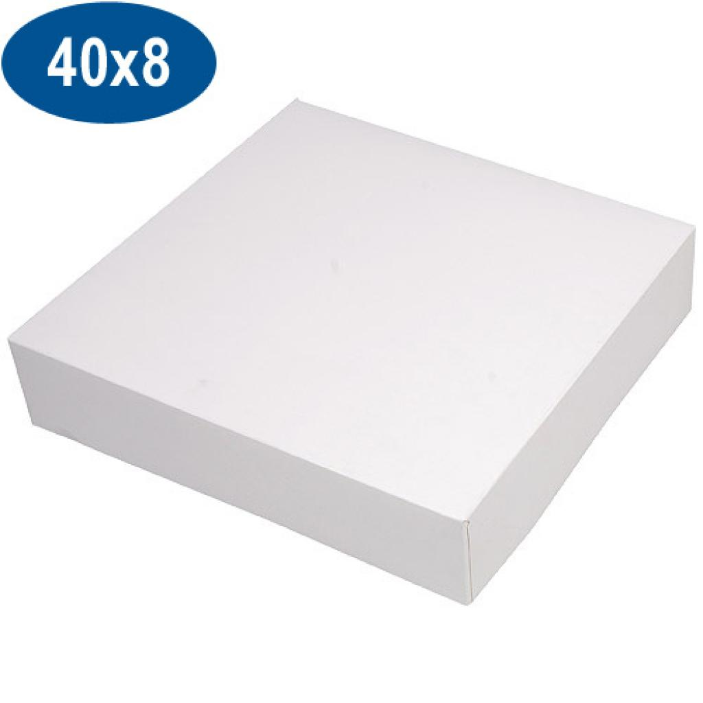 White paperboard pastry box 40x8 cm