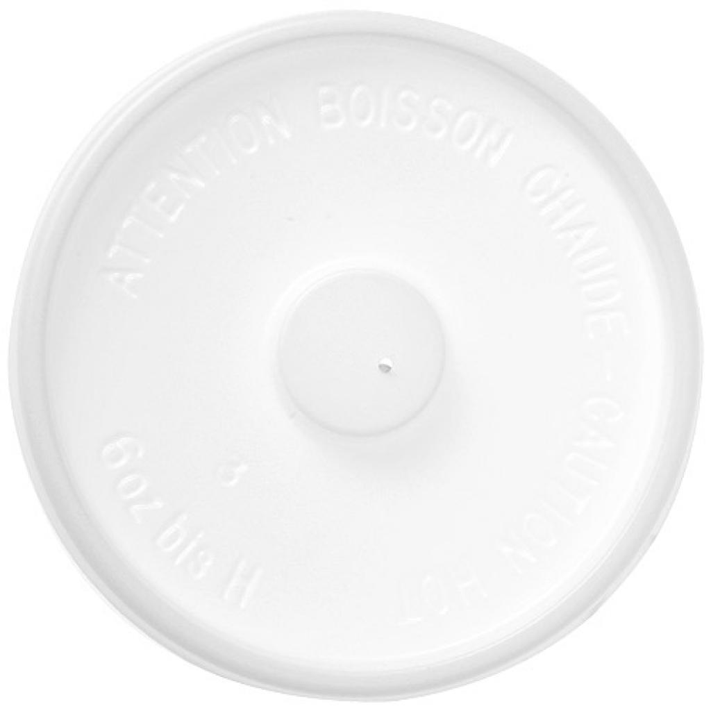 Couvercle plat PS blanc pour gobelet 15/20 cl